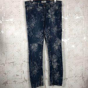 Free People | Elle Floral Ankle Zip Skinny Jeans